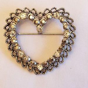 Open Heart Brooch w/ Rhinestones